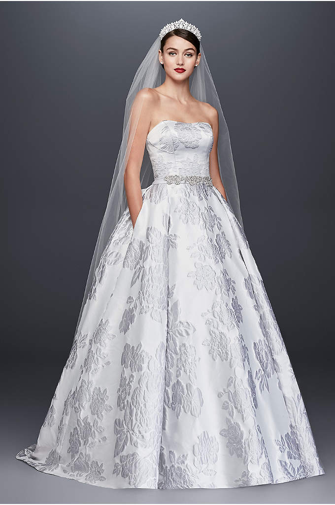 Floral Brocade Ball Gown Wedding Dress - This Oleg Cassini wedding dress beautifully combines the
